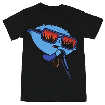 Family Guy Tee Shirts - Family Guy Mens T-Shirt  - Rapping Stewie Giffin Rocking The Mic on Black