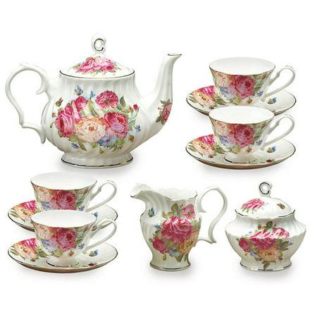 Grace's Tea Ware 11 pièces en porcelaine Sandra Set Rose Thé