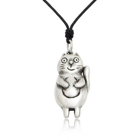 Chubby Cat Size S Silver Pewter Charm Necklace Pendant Jewelry With Cotton -