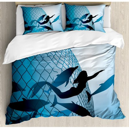 Underwater Duvet Cover Set, A Mermaid Rescues Flight of Dolphins from a Fishing Net Freedom Diver Artwork Print, Decorative Bedding Set with Pillow Shams, Blue, by