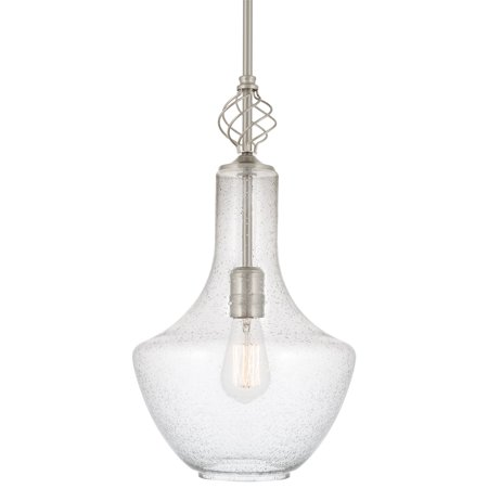 "Kira Home Sydney 15"" Modern Pendant Light + Vase Style Seeded Glass Shade, Adjustable Height, Brushed Nickel Finish"