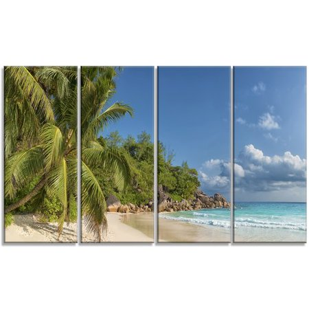 Design Art 'Anse Georgette Beach Dark Blue' 4 Piece Photographic Print on Wrapped Canvas Set