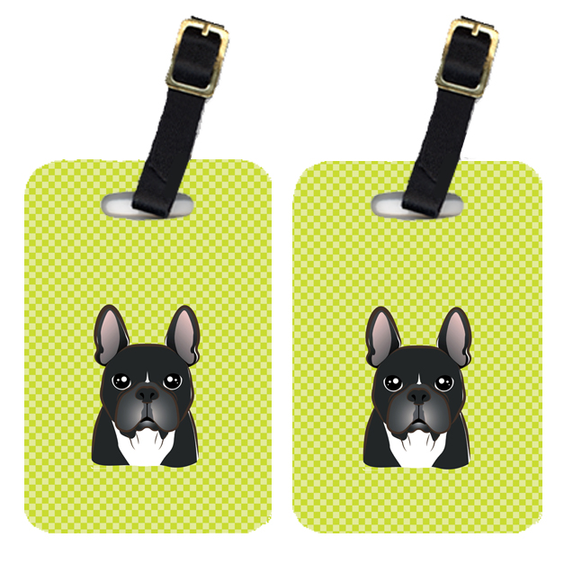 Pair of Checkerboard Lime Green French Bulldog Luggage Tags BB1289BT