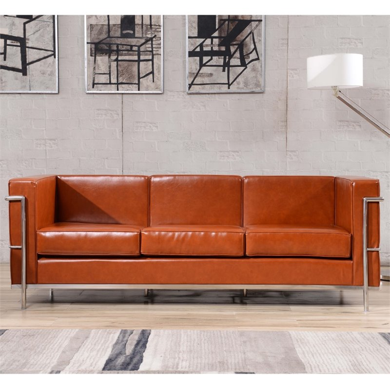 Genial Flash Furniture HERCULES Regal Series Contemporary Cognac Leather Sofa With  Encasing Frame(base UPC 0084725401843