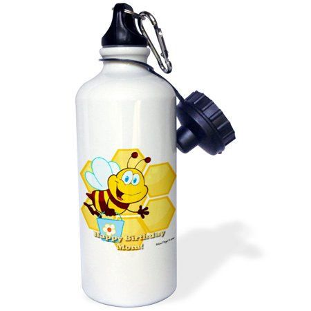 3dRose Bumble Bee Happy Birthday Mom, Sports Water Bottle, 21oz Bumble Bee Caps
