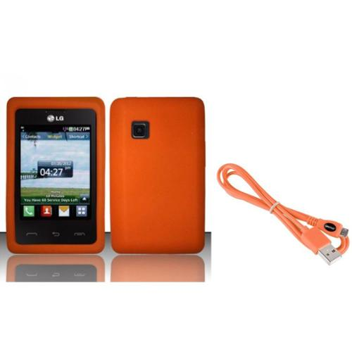 Insten Orange Silicone Soft Case Cover For LG 840g (with USB Cable)
