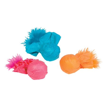 Kylies Brights  Assorted  Paper Ball Rattlers with Feather  Plastic  Cat Toy  Large