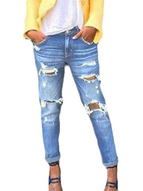 99a7313aaab Product Image Women Fashion Distressed Denim Jeans Roll up Ripped Pants