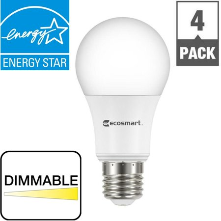 60W Equivalent Soft White A19 Energy Star + Dimmable LED Light Bulb (4-Pack), CRI90 Glow Bright 2Pack ES95BR3065SWD6 BR20 100W Dawn Light 3Pack Pack 50W.., By EcoSmart - Omni Glow