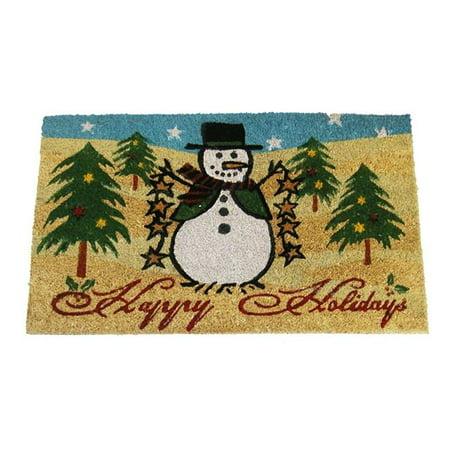 Geo Crafts G250 HAPPY HOLIDAYS 18 x 30 in. PVC Coir Snowman Happy Holidays Doormat