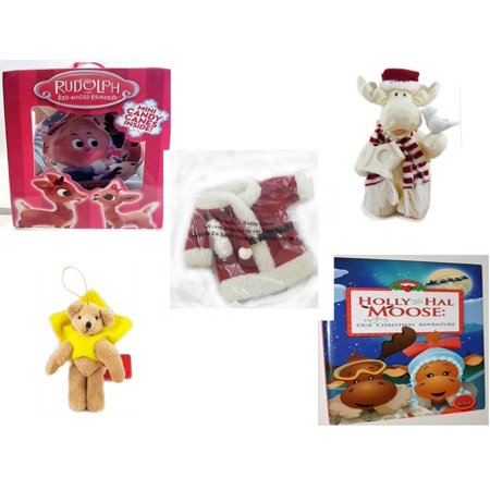 Christmas Fun Gift Bundle [5 Piece] - Rudolph Red-nosed Reindeer Fillable Xmas Ornament - Woodniks