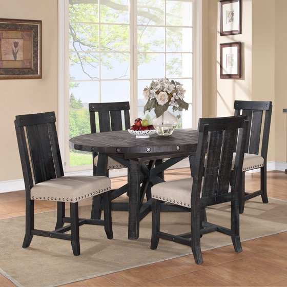 modus round yosemite 5 piece round dining table set with wood chairs. Black Bedroom Furniture Sets. Home Design Ideas