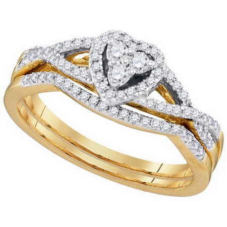 Size - 7 - Solid 10k White and Yellow Two Toned Gold Round White Diamond Bridal Heart CrossOver Engagement Ring with Curved Matching Wedding Band (.38 (Gold Tone White Curves)