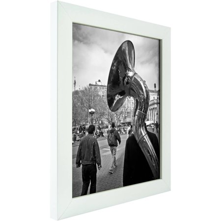 Craig Frames Contemporary White Satin Picture - Satin Nickel Finish Frames