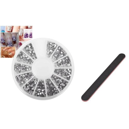 Zodaca 1200pcs Manicure Nail Art Tips 1.5mm 3D Decoration+Nail Files Buffing Crescent Grit Sandpaper Manicure
