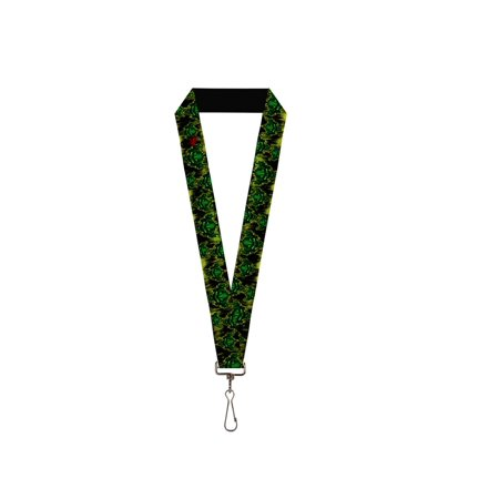 Scary Monster Alien Faces on Green and Black Lanyard (Beetlejuice Scary Face)