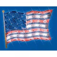 """14.5"""" Lighted Patriotic Fourth of July American Flag Window Silhouette Decoration"""