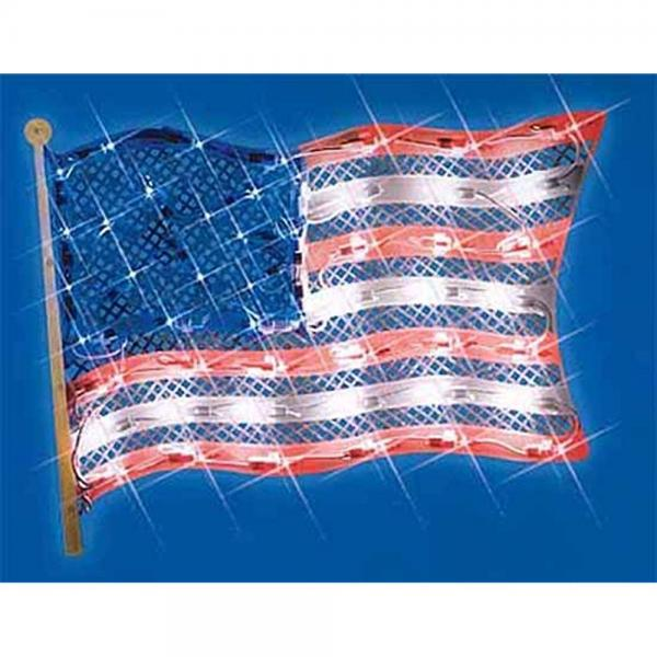 "14.5"" Lighted Patriotic Fourth of July American Flag Window Silhouette Decoration"