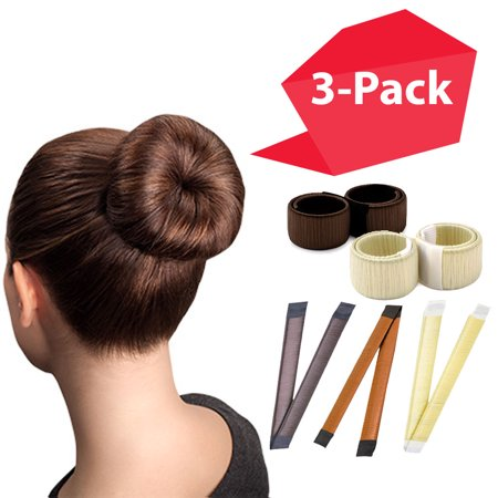 Magic Bun Maker | 3-PACK Mixed Colors | The NEW way to Donut Your Hair | Perfect Hair Bun Maker | Hair Donuts for Updos | Easy Bun Hair Tool | Kids Ballerina Bun | Bun Shaper | Bun Hair (Easy Diy Updos For Shoulder Length Hair)