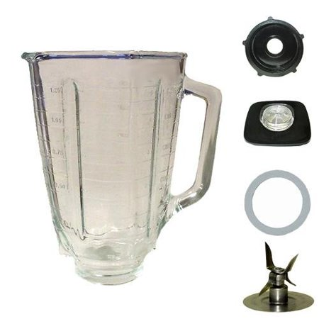 Blendin 5 Cup Square Top Glass Jar Assembly With Blade,Gasket,Base, and Lid. Fits Oster Blenders Blendin 5 Cup Square Top Glass Jar Assembly With Blade,Gasket,Base, and Lid. Fits Oster Blenders.  Compatible with most Oster Blenders.