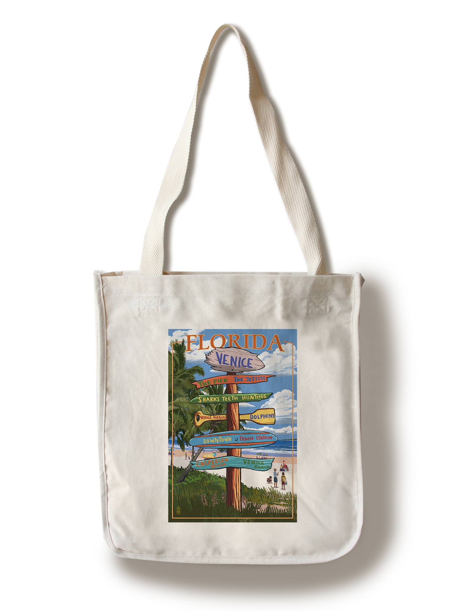 Venice, Florida Sign Post Lantern Press Artwork (100% Cotton Tote Bag Reusable) by Lantern Press