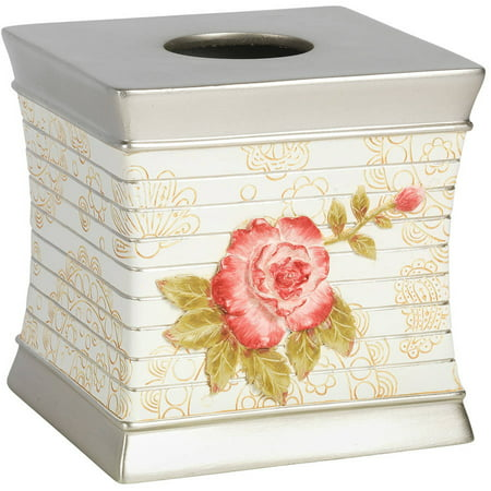 Popular Bath Madeline Beige Collection Bathroom Tissue Box Holder