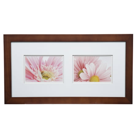 Gallery Solutions 10x20 Wide Walnut Frame with Double Mat For Two 5x7 Images