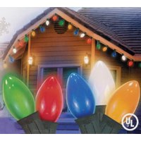 Set of 25 Opaque Multi-Color C9 Christmas Lights - Green Wire