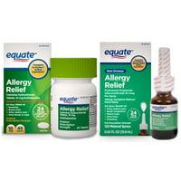 Equate Cetirizine Non-Drowsy Allergy Relief Tablets (45 Ct) & Equate Fluticasone Nasal Spray (120 Sprays)