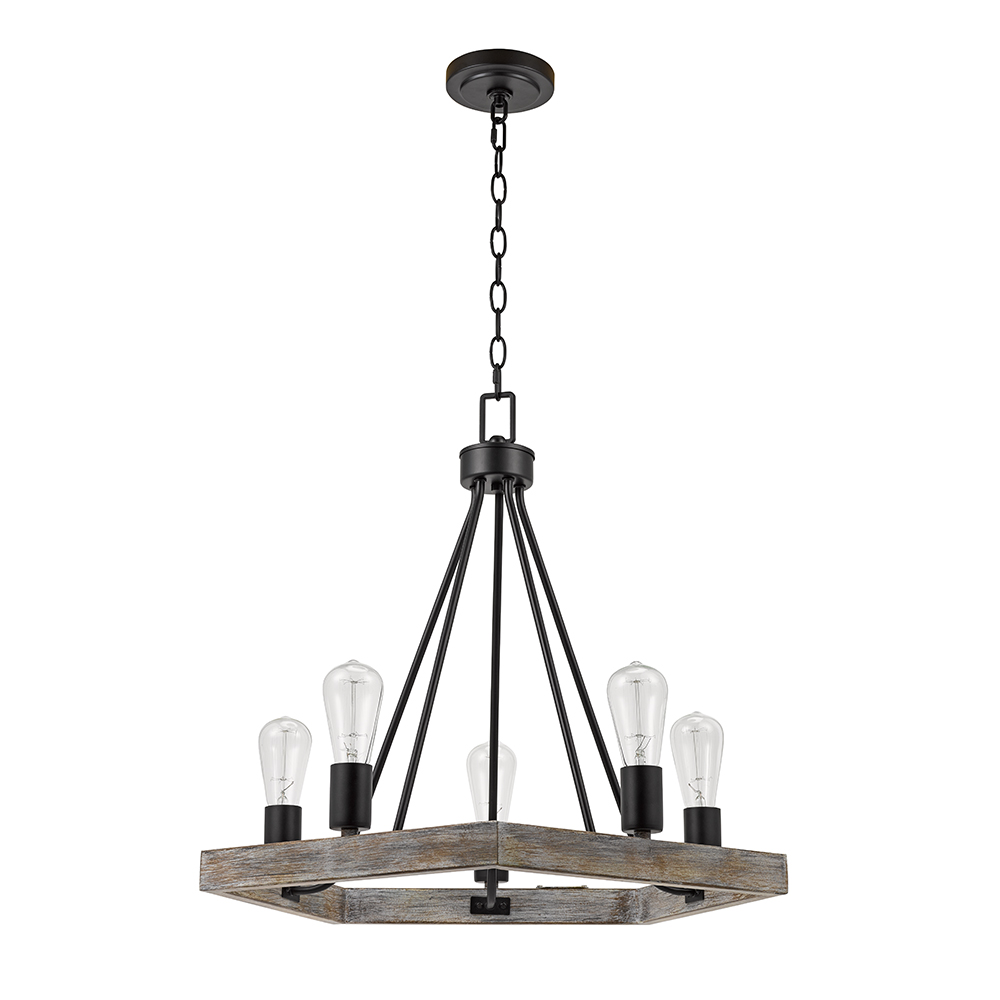 Better Homes & Gardens 5-Light Wood and Metal Chandelier by Evolution Lighting LLC