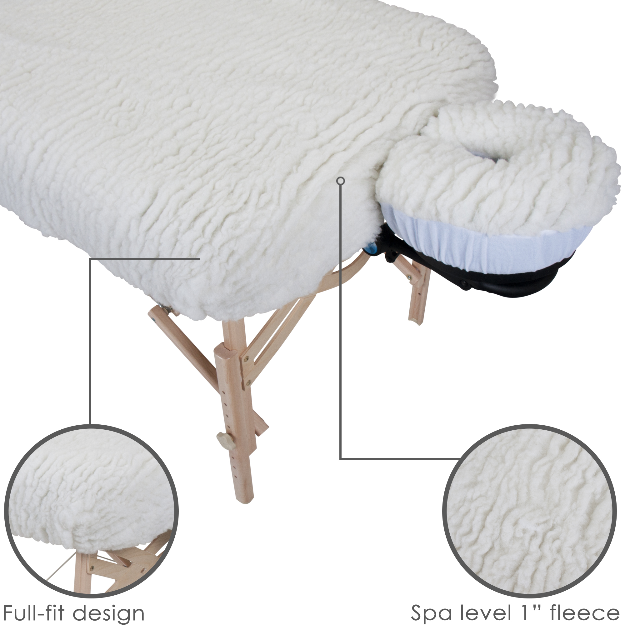 """EARTHLITE Massage Table Fleece Pad Set DELUXE - 1"""" Soft Thick Fleece incl. Fitted Pad & Face Cradle Cover (2pc)"""