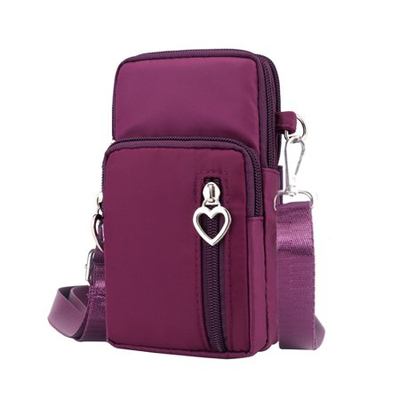 Women Fashion Sports Mini Square Bag Oxford Cloth Messenger Bag Cellphone Pouch Crossbody Bags (Purple)