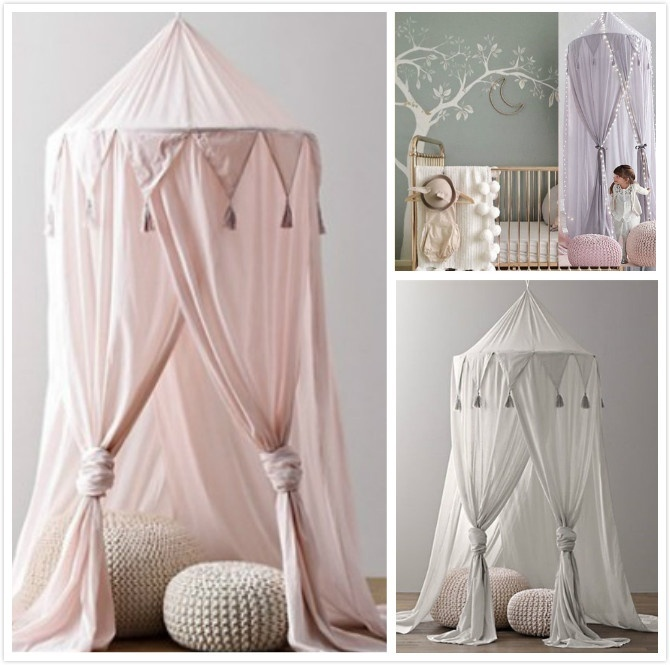 HERCHR Mosquito Net Bed Canopy for Children Girls Room Round Dome Mesh Lace Porch Outdoor