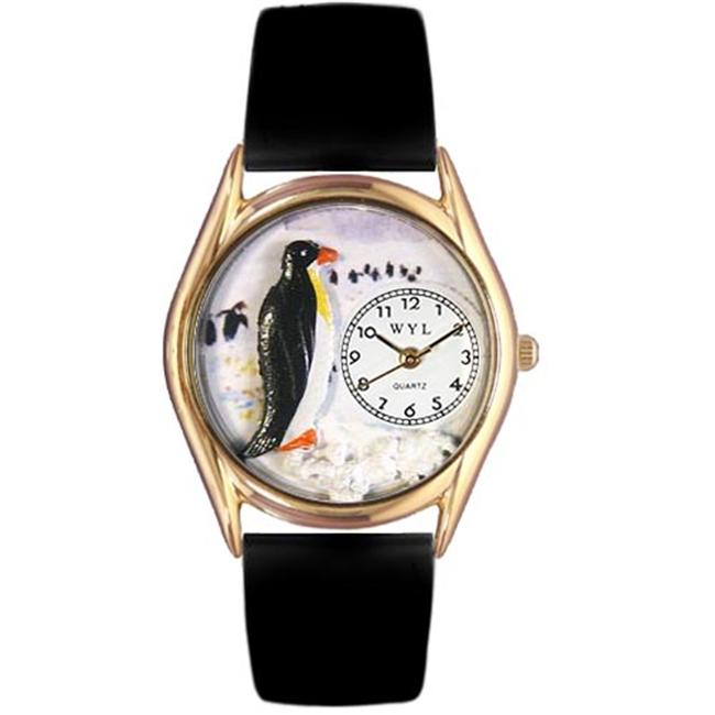 Womens Penguin Black Leather And Goldtone Watch - image 1 de 1