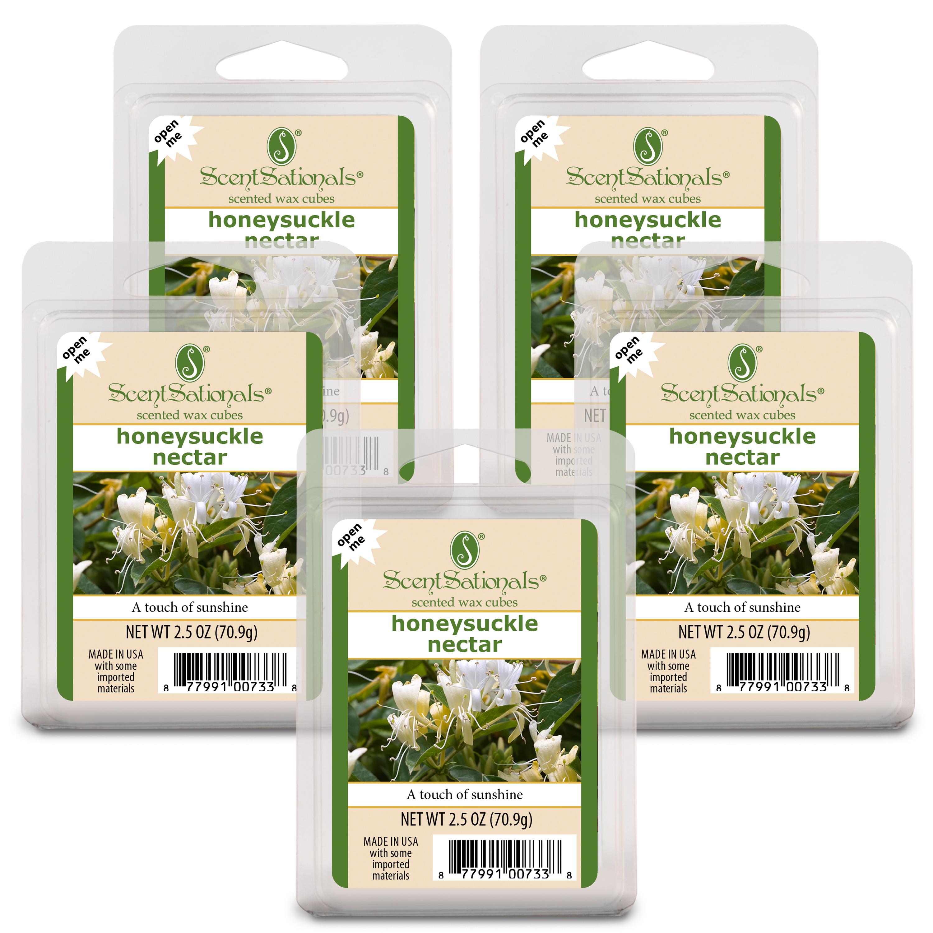 ScentSationals 2.5 oz Honeysuckle Nectar Scented Wax Melts, 5-Pack