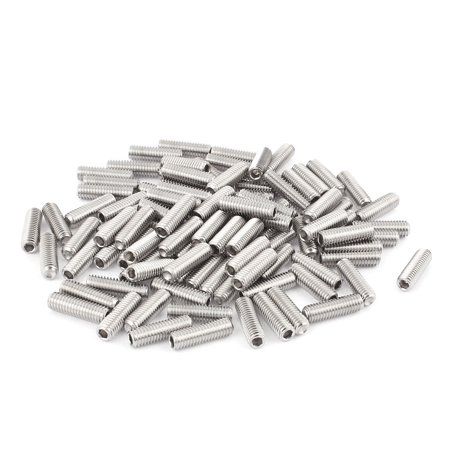 M6x20mm Stainless Steel Hex Socket Set Cap Point Grub Screws Silver Tone 100Pcs - image 2 of 2