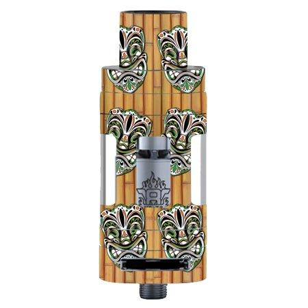 Skin Decal For Smok Tfv8 Tank Vape Mod / Tiki Faces On Bamboo