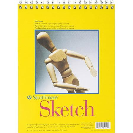 Strathmore  300 Series Spiral Bound Sketch Pad  9  X 12   100 Sheets