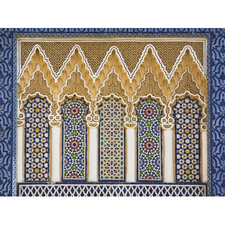 Ornate Detail With Coloured Tiles, Royal Palace, Fez-El-Jedid, Fez (Fes), Morocco, North Africa Print Wall Art
