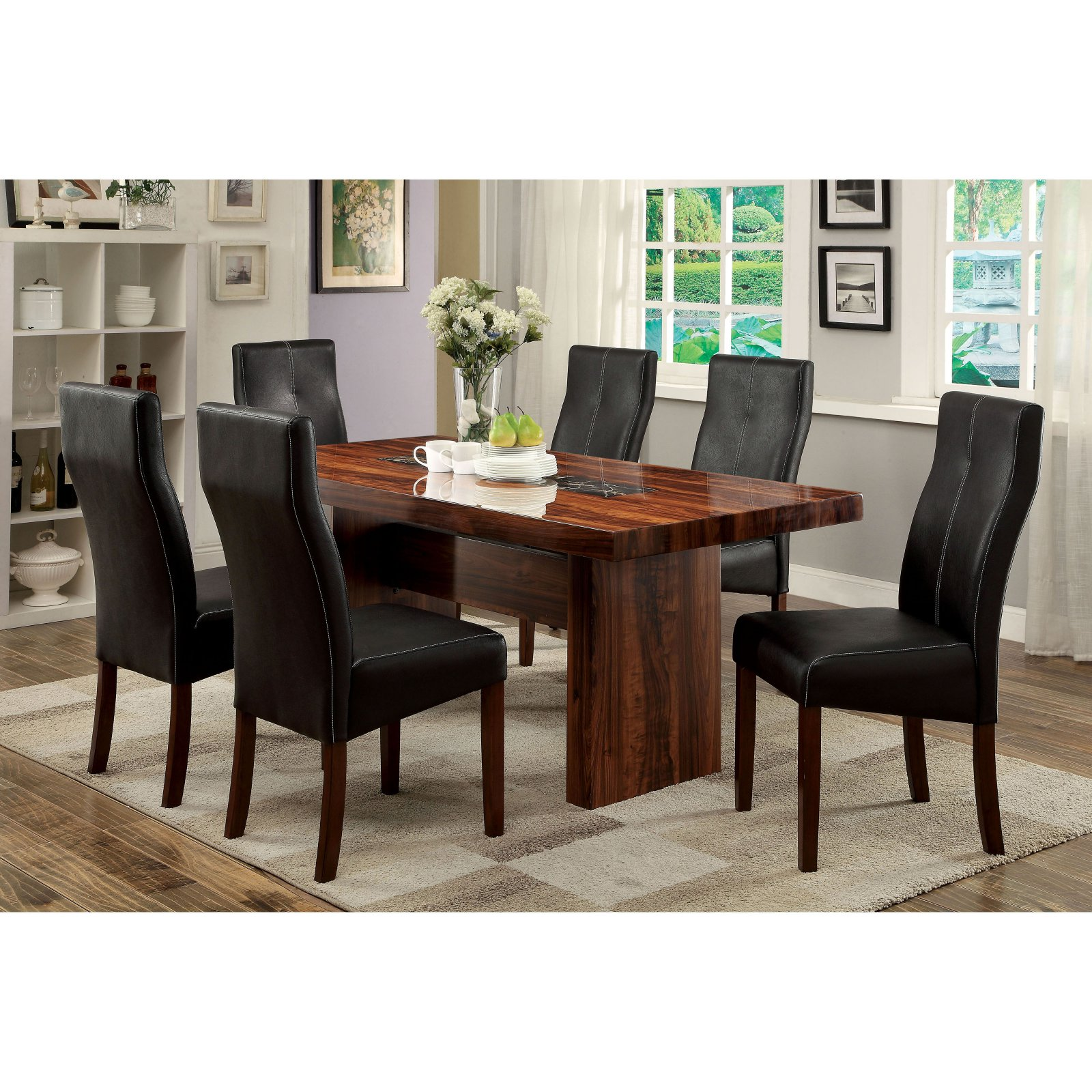 Furniture of America Marcson 7 Piece Dining Table Set