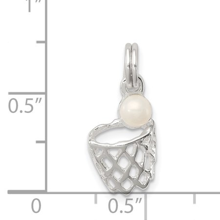 Sterling Silver Simulated Pearl Basketball in Hoop Charm QC5128 (15mm x 11mm) - image 2 de 3