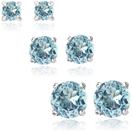 2 Carat T.G.W. Blue Topaz Sterling Silver 3mm, 4mm and 5mm Round Stud Earrings, Set of 3