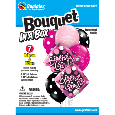 Party Supplies - Pioneer - 7 ct.Balloon Bouquet-in-a-Box Set - Birthday Girls