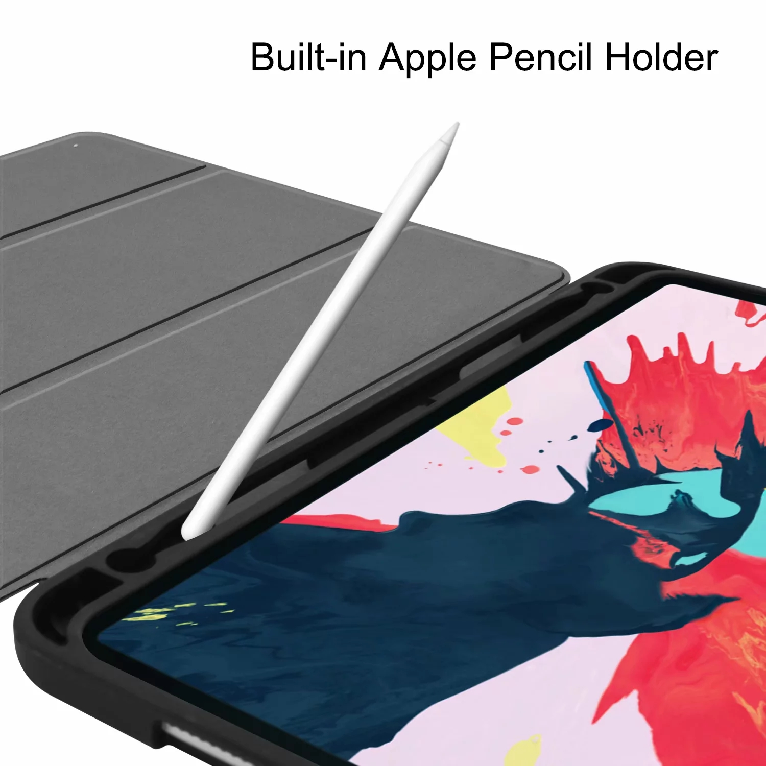Sevrok iPad Pro 11 Case 2020//2018 with Apple Pencil Holder Support iPad Pencil Charging Smart Slim Lightweight Trifold Stand Protective Cover Auto Wake//Sleep Featured Black