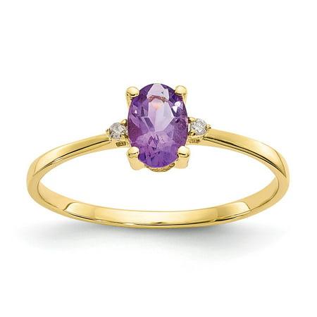 Roy Rose Jewelry 10K Yellow Gold Genuine Diamond & Amethyst Birthstone Ring - Size: 6