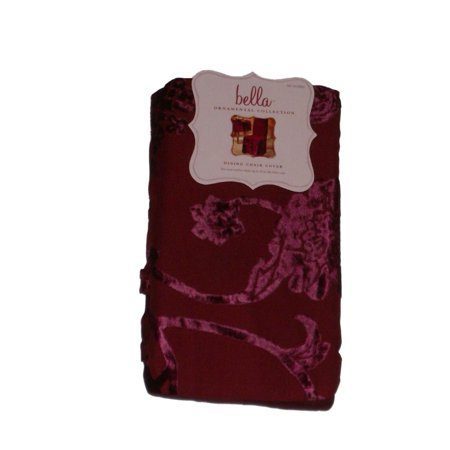 Bella Flocked Burgundy Floral Dining Room Chair Cover