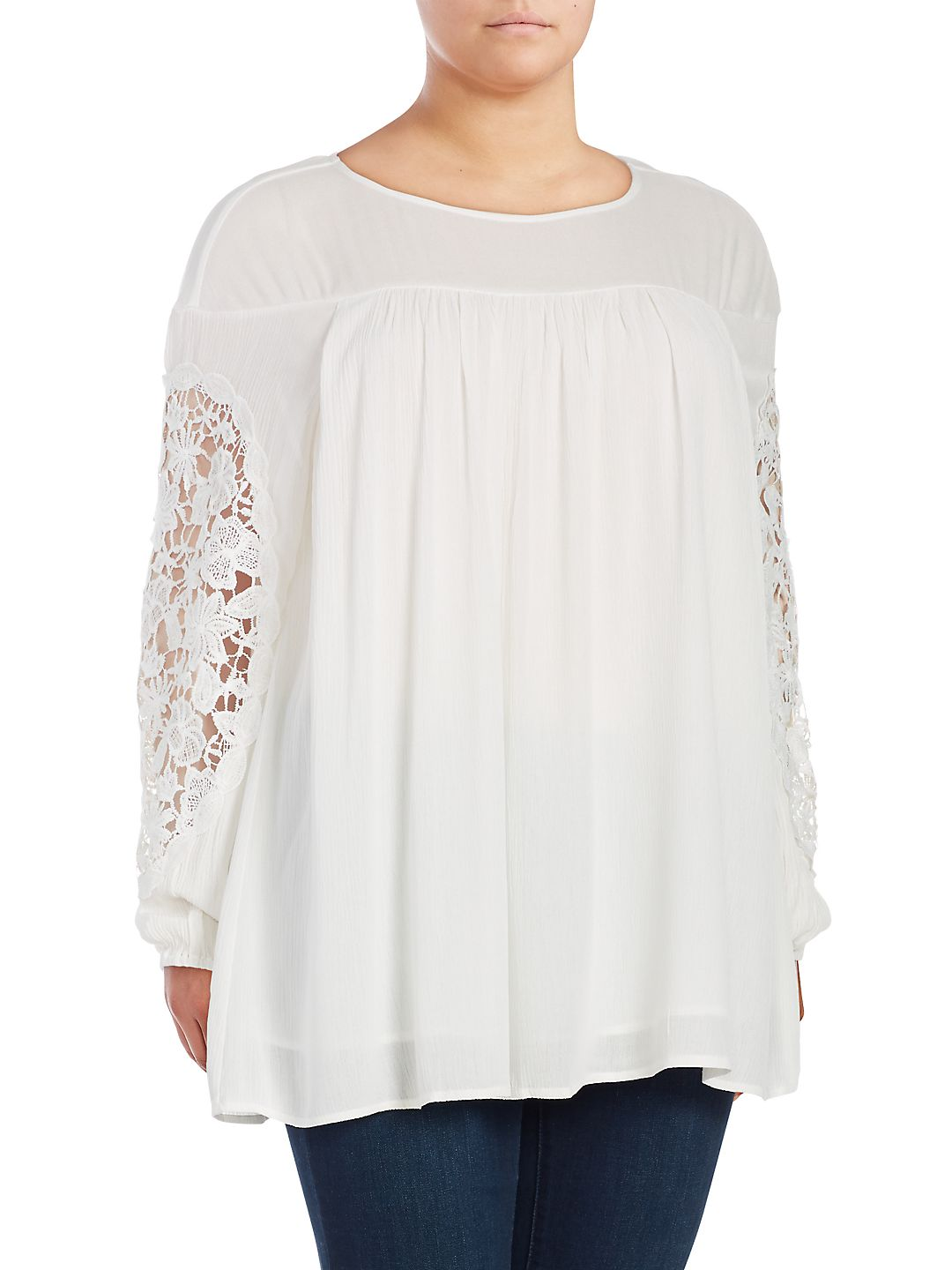 Plus Crinkle Lace Top