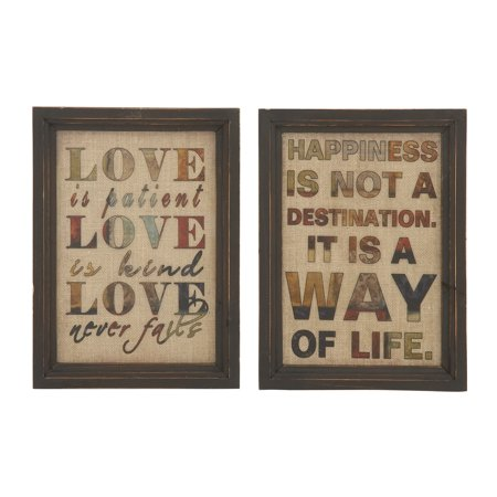 Quoted Wood Glass Wall Decor 2 Assorted ()