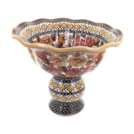 Polish Pottery Autumn Rose Pedestal Fruit Bowl