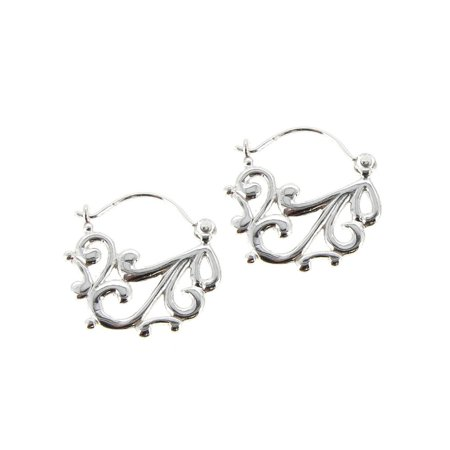 Queenberry Sterling Silver Filigree Flower Clutchless Hoop Earrings